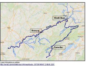 Les trois agglomérations étudiées au fil du Doubs.